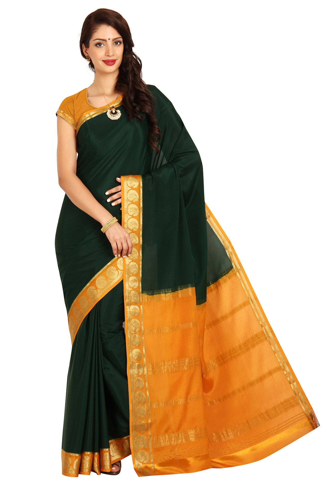 68917bbee 100% Pure Crepe Mysore Traditional Silk Saree KC2107 BOTTLEGREEN MUSTARD - Mysore  Silk Sarees - Sarees