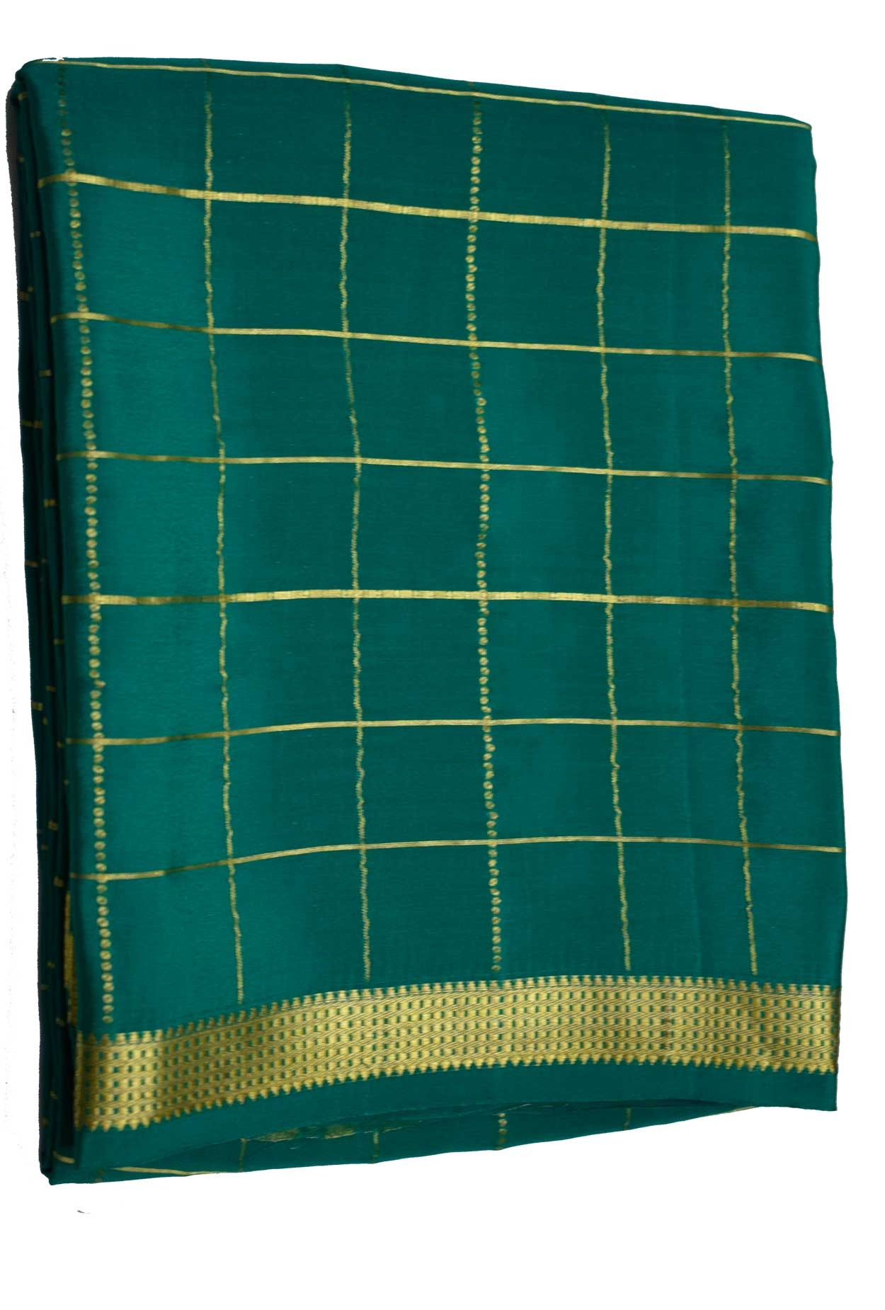 100% Pure Crape Mysore Traditional Silk Saree SC-29-RAMA -GREEN