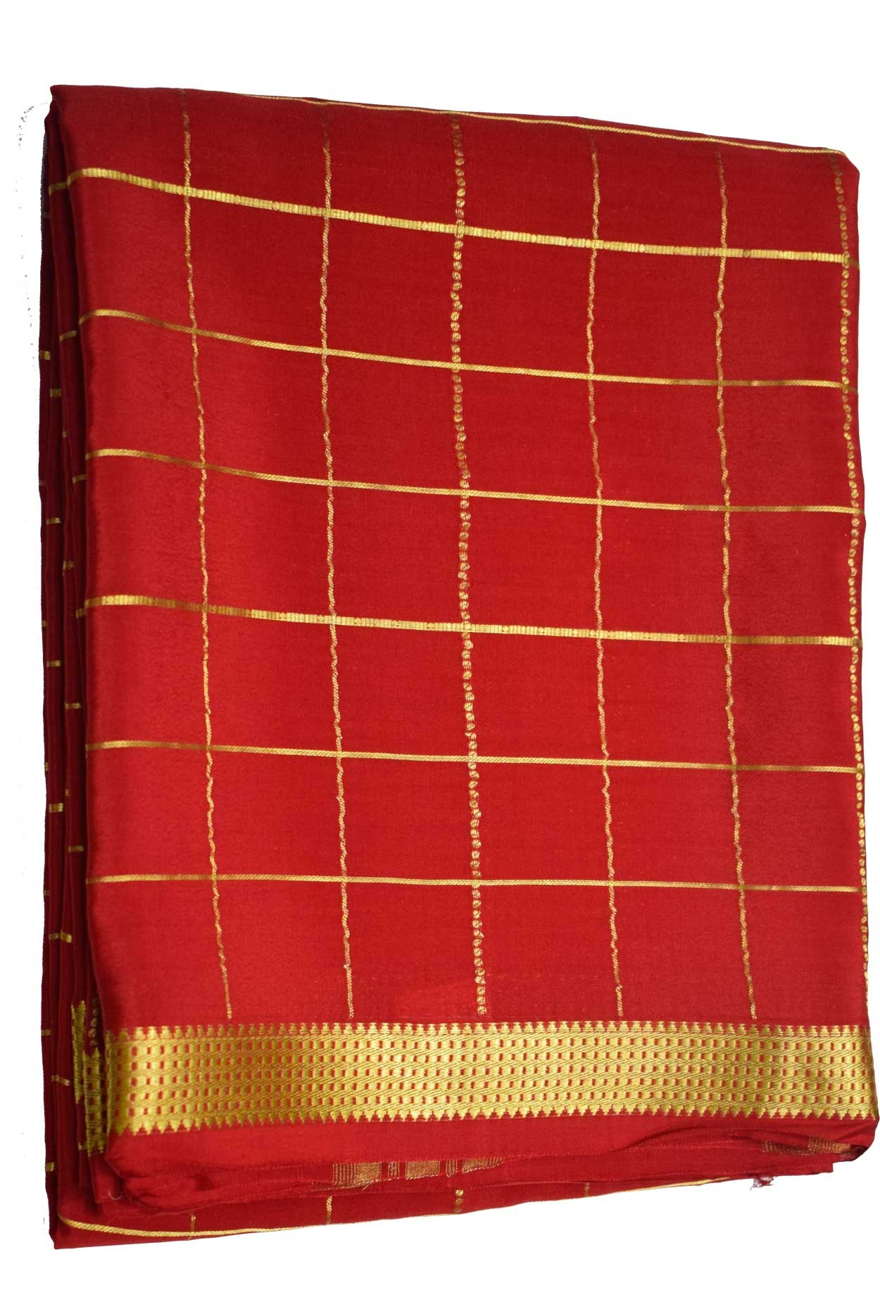 100% Pure Crape Mysore Traditional Silk Saree SC-29-RED