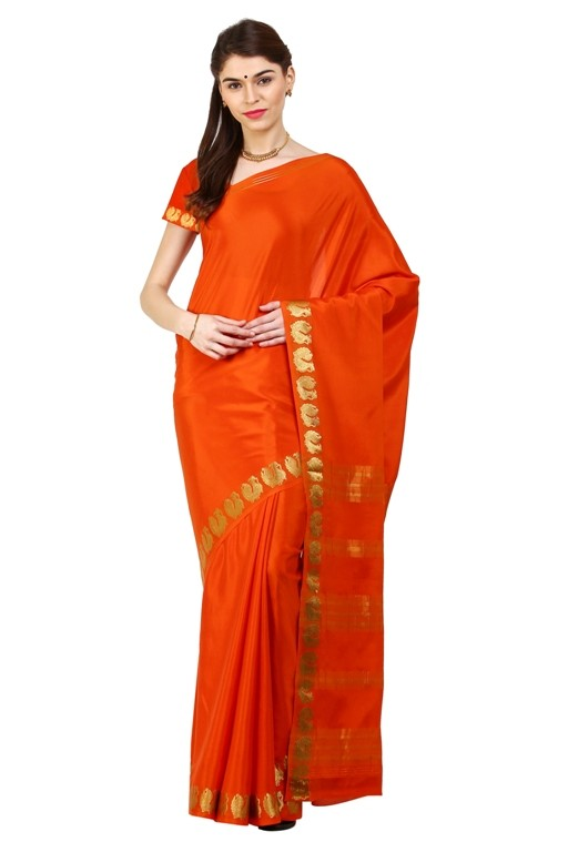 Kaushika 100% Pure Tussar Silk Cut Work Saree KC1706_RUST