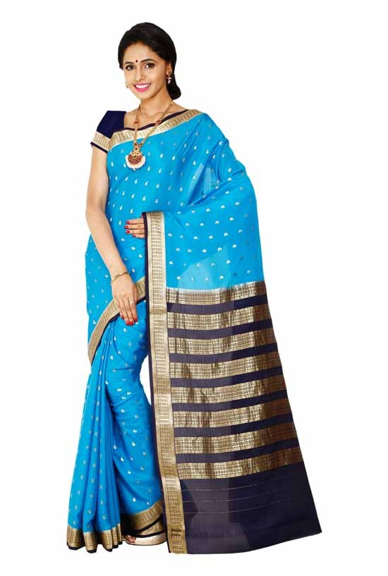 100% Pure Crepe Mysore Traditional Silk Saree KC1605_LIGHTBLUE_NAVYBLUE