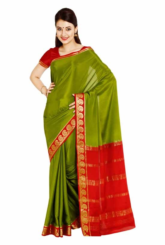 100% Pure Crepe Mysore Traditional Silk Saree KC21012_OLIVE_MAROON