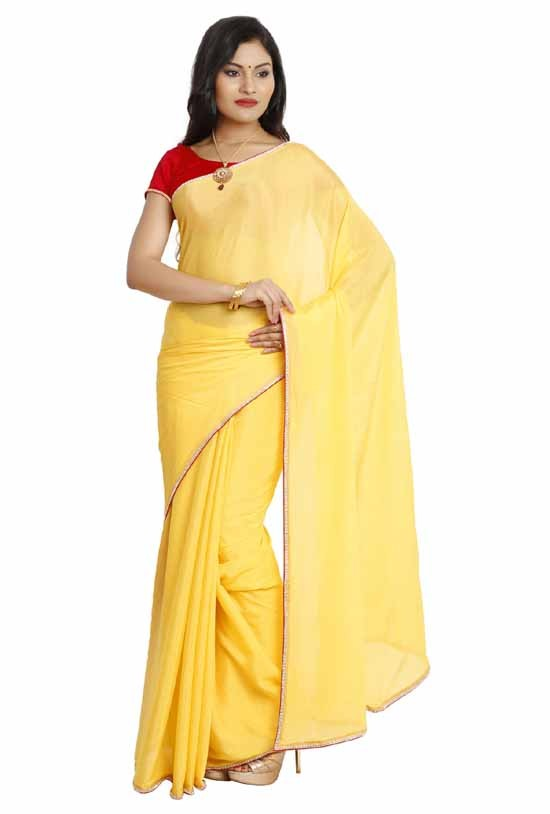 Designer wrinkled crepe saree Lemon Yellow KR0004