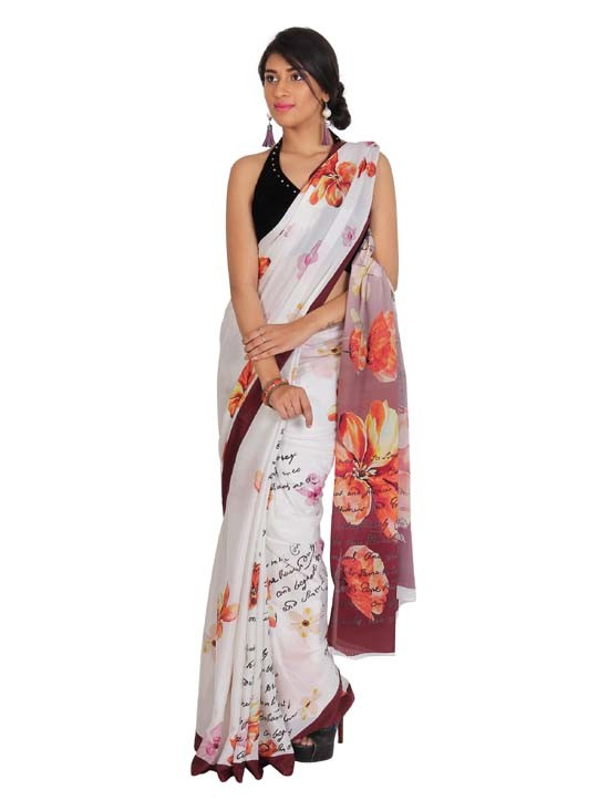 100% Pure Crepe Silk Digital Printed Saree KCP004