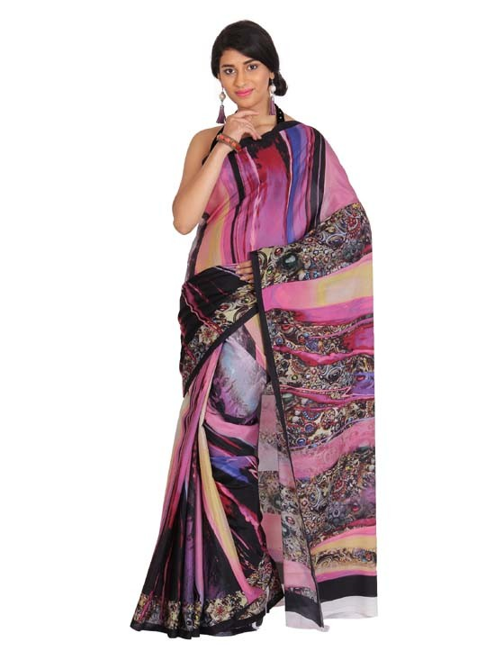 100% Pure Crepe Silk Digital Printed Saree KCP005