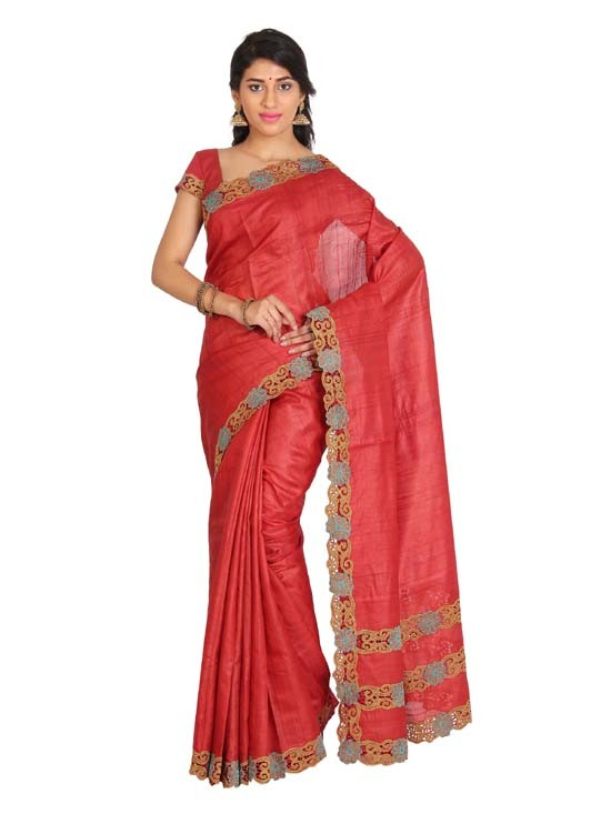 100% Pure Tussar Silk Cut Work Saree KTS12