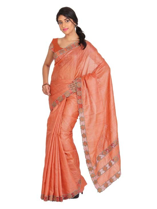 100% Pure Tussar Silk Cut Work Saree KTS18
