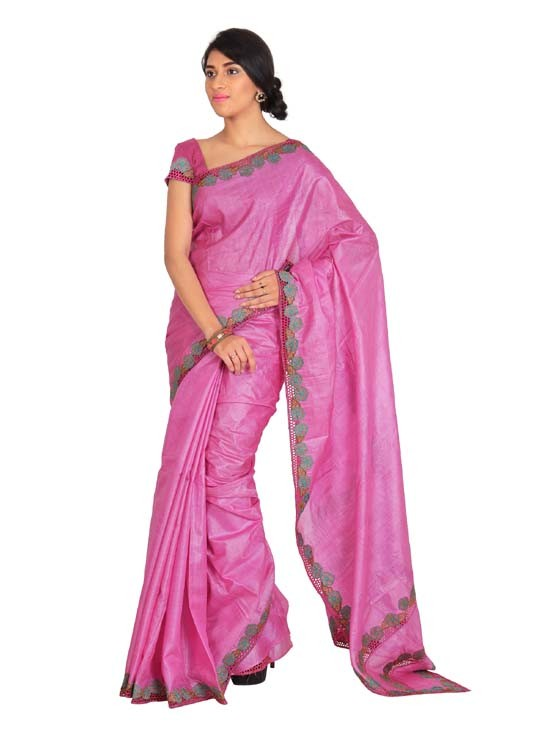 100% Pure Tussar Silk Cut Work Saree KTS19