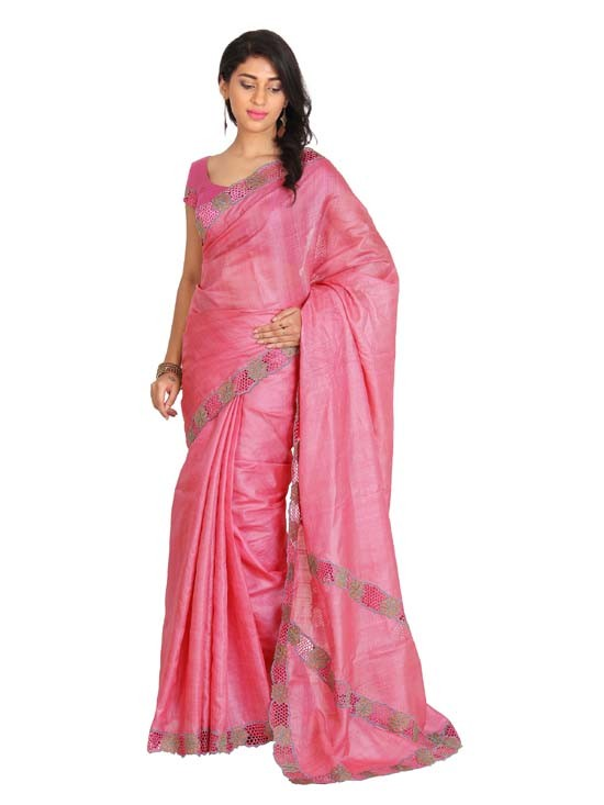 100% Pure Tussar Silk Cut Work Saree KTS0903