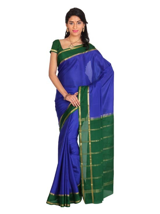 Kaushika 100% Pure Crepe Mysore Traditional silk saree KC5804_ROYALBLUE_GREEN