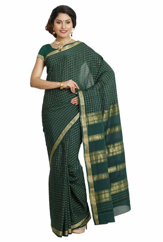 100% Pure Crepe Mysore Traditional Silk Saree KC2904_BOTTLEGREEN