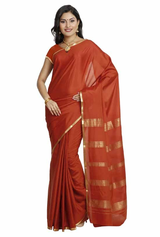 100% Pure Crepe Mysore Traditional Silk Saree KC6001_RUST