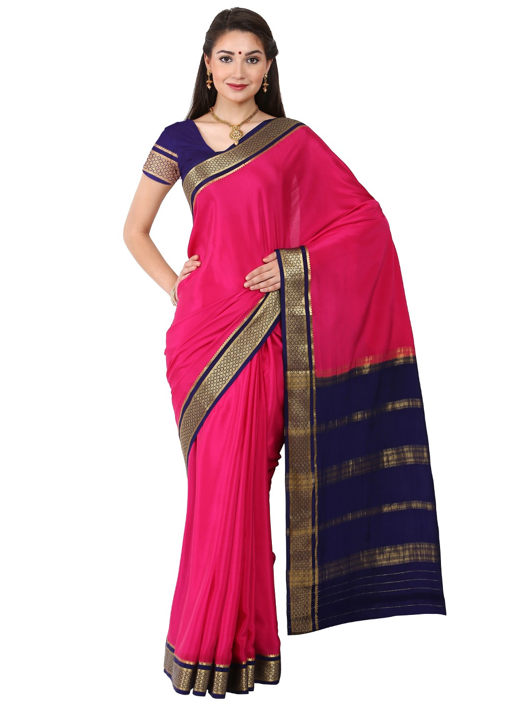 Kaushika 100% Pure Crepe Mysore Traditional silk saree KC6821_RANI_NAVYBLUE