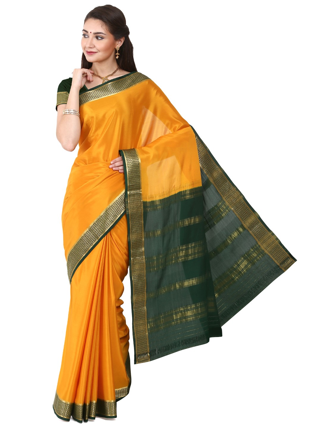 Kaushika 100% Pure Crepe Mysore Traditional silk saree KC04026_MUSTARD_BOTTLEGREEN