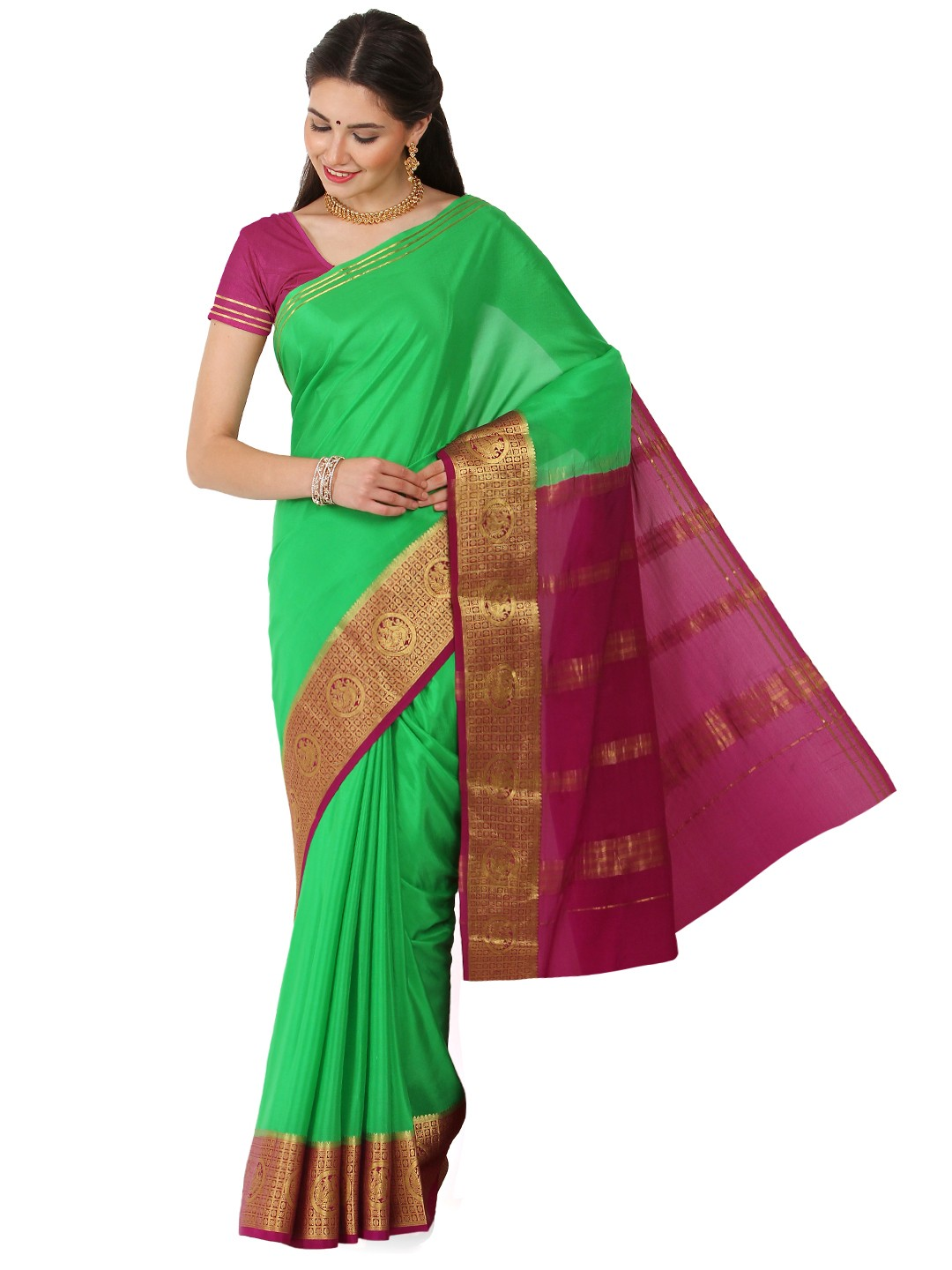 Kaushika 100% Pure Crepe Mysore Traditional silk saree  KC25028_Parrot Green_Megenta