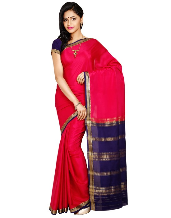 100% Pure Crepe Mysore Traditional Silk Saree KC4001_RANI_NAVYBLUE