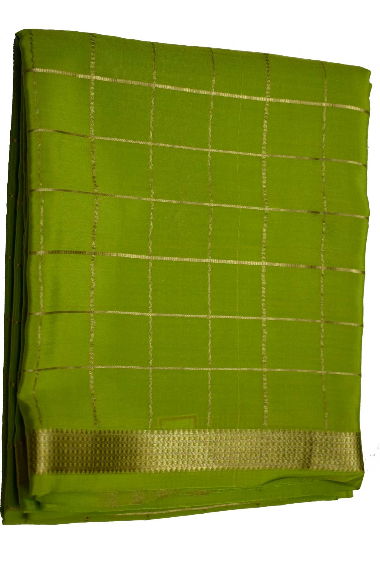 100% Pure Crape Mysore Traditional Silk Saree SC--29- OLIVE GREEN