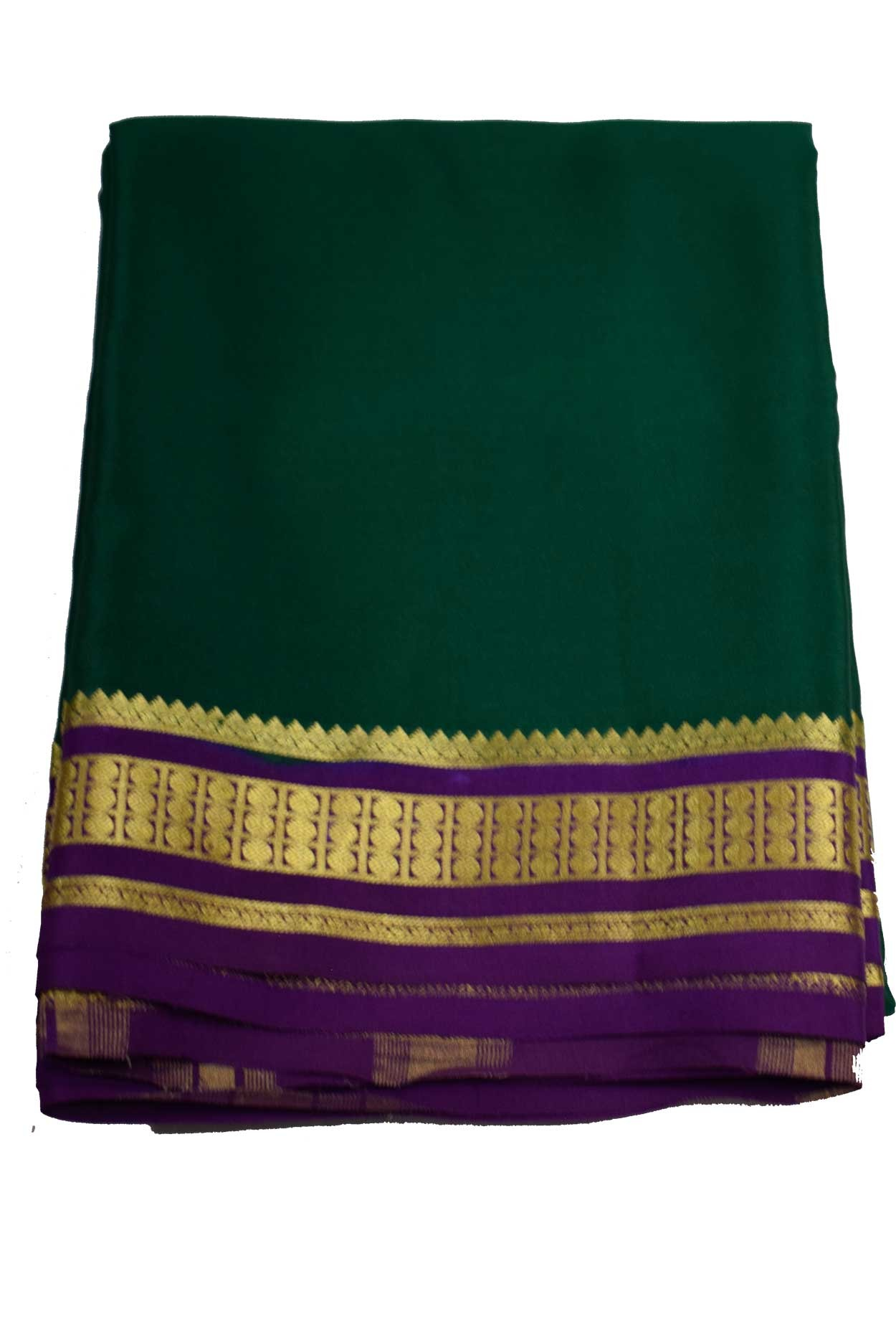 100% Pure Crape Mysore Traditional Silk Saree sc-11-bottle green meganta