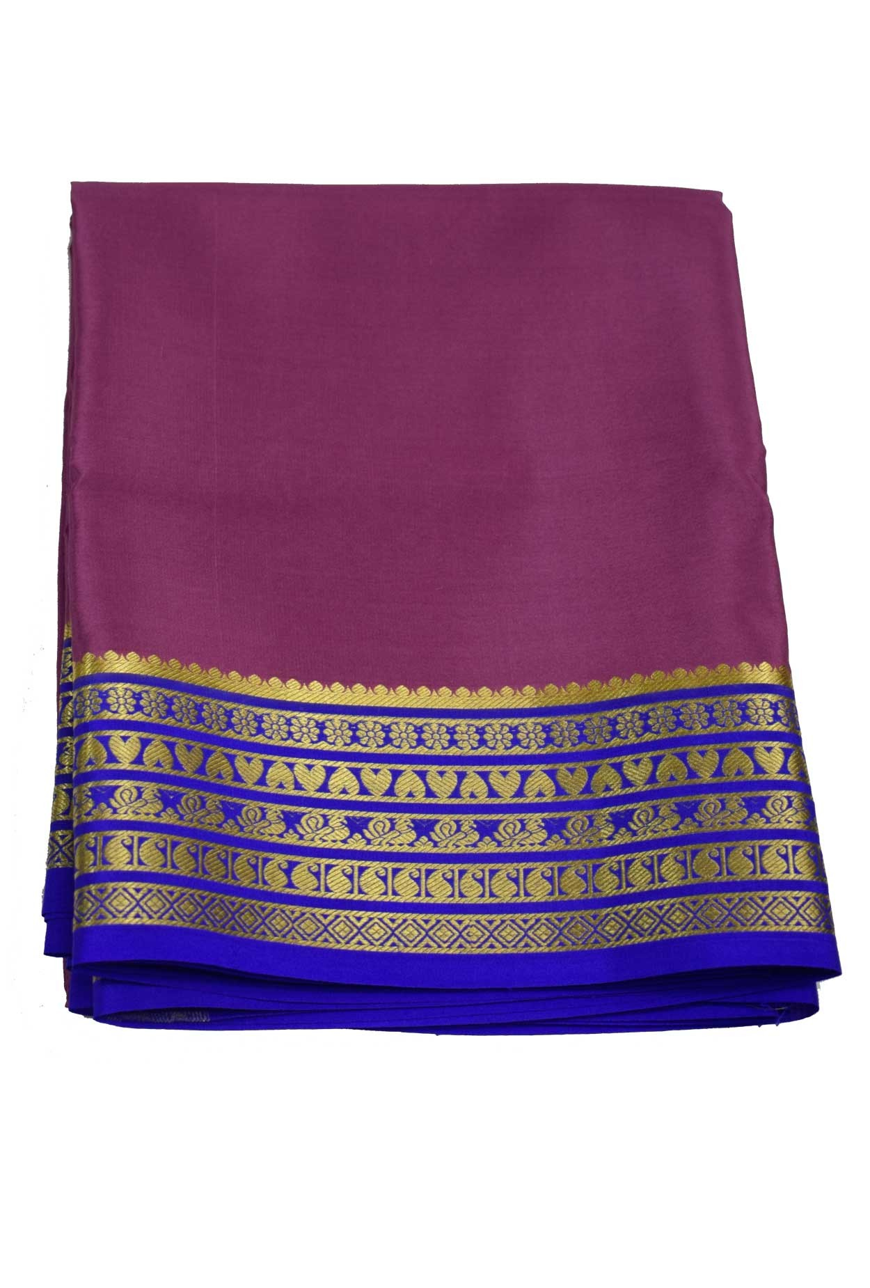 100% Pure Crape Mysore Traditional Silk Saree sc-25 onoin-royal blue