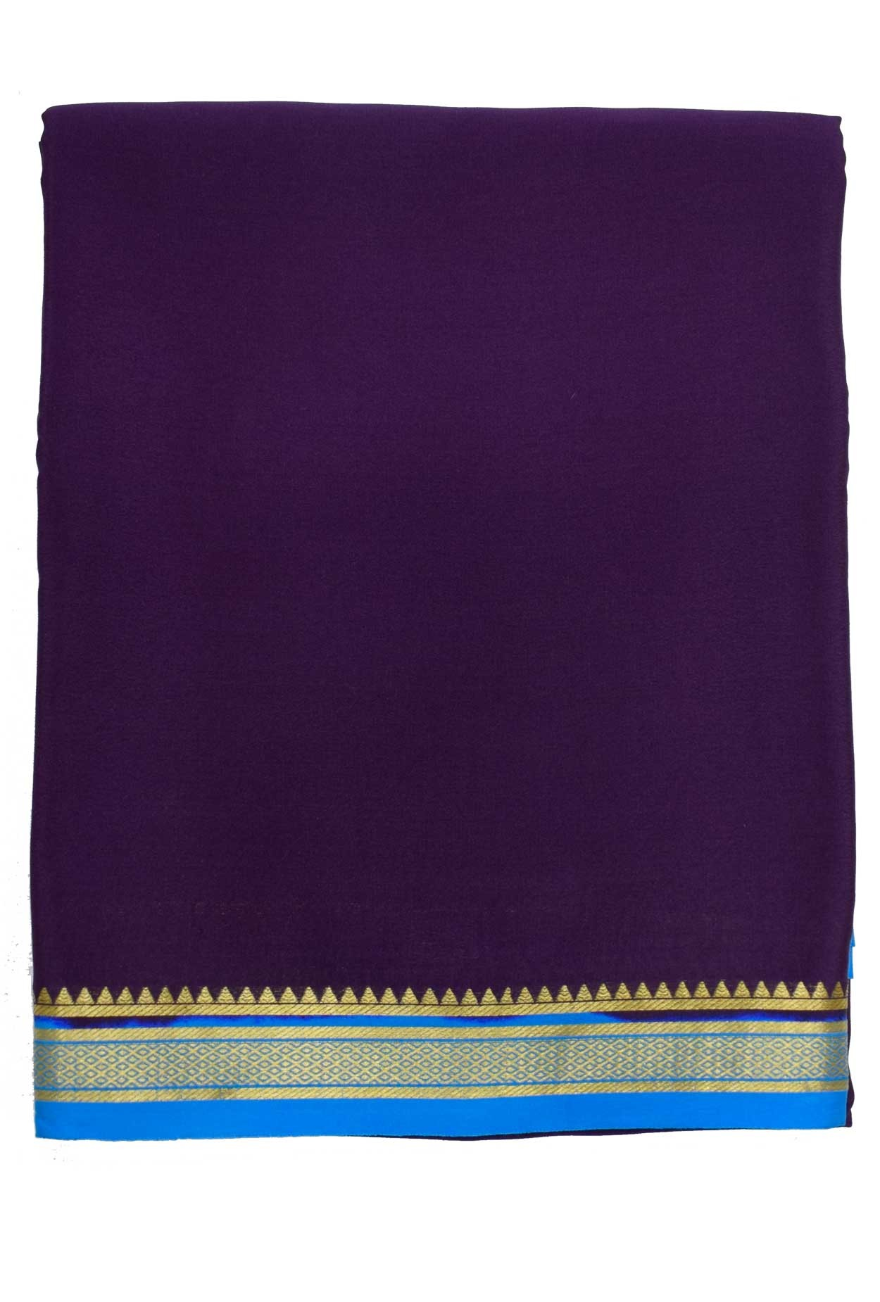 100% Pure Crape Mysore Traditional Silk Saree SC-38-_lavender-_blue