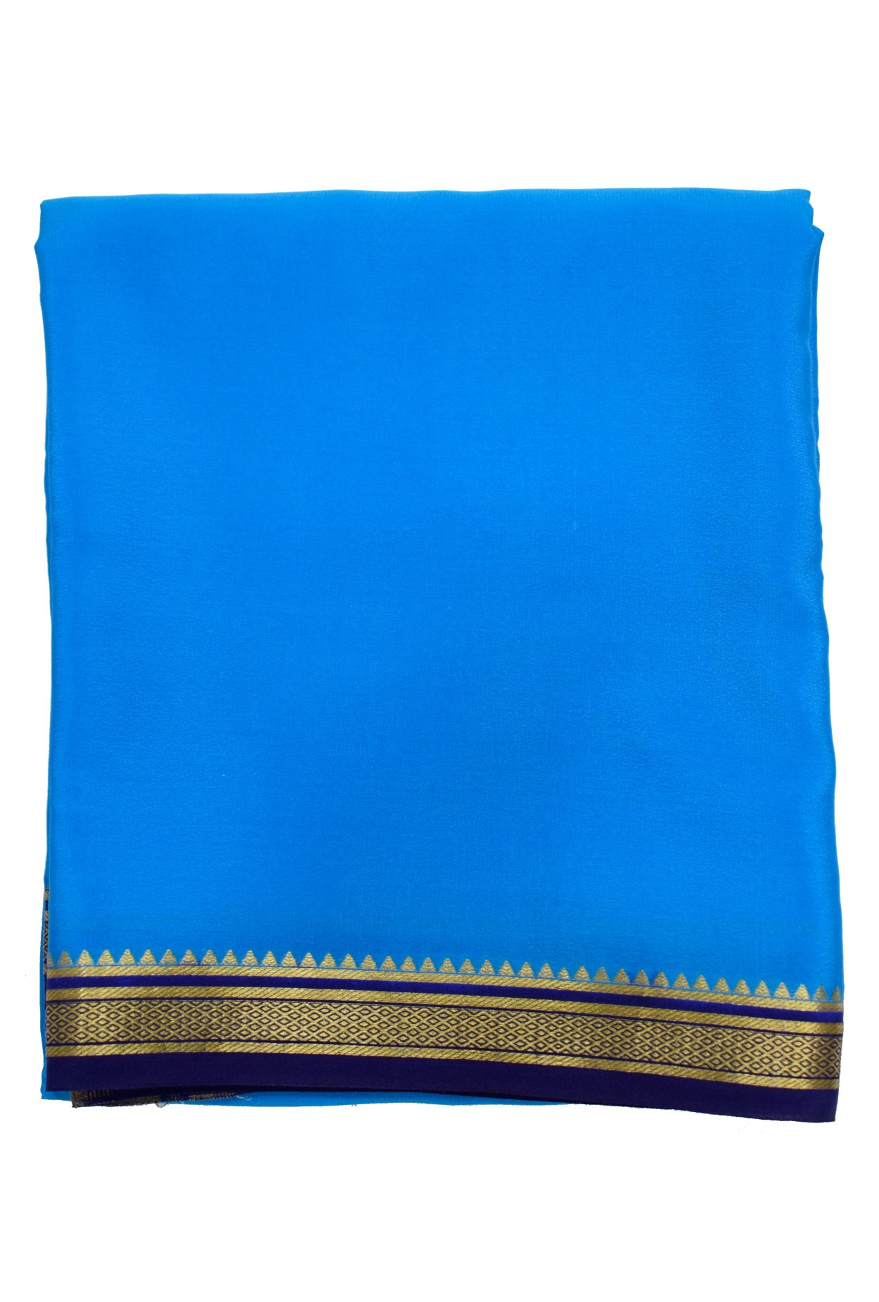 100% Pure Crape Mysore Traditional Silk Saree SC38-ANANDA - navy blue