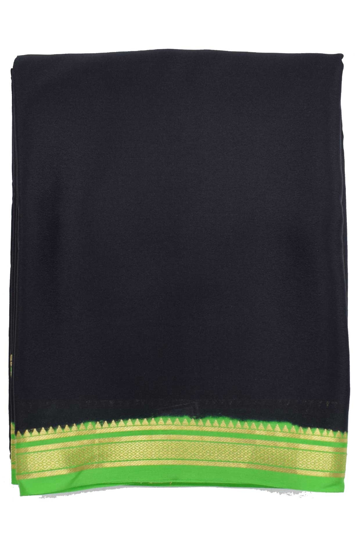 100% Pure Crape Mysore Traditional Silk Saree SC-38 BLACK_GREEN