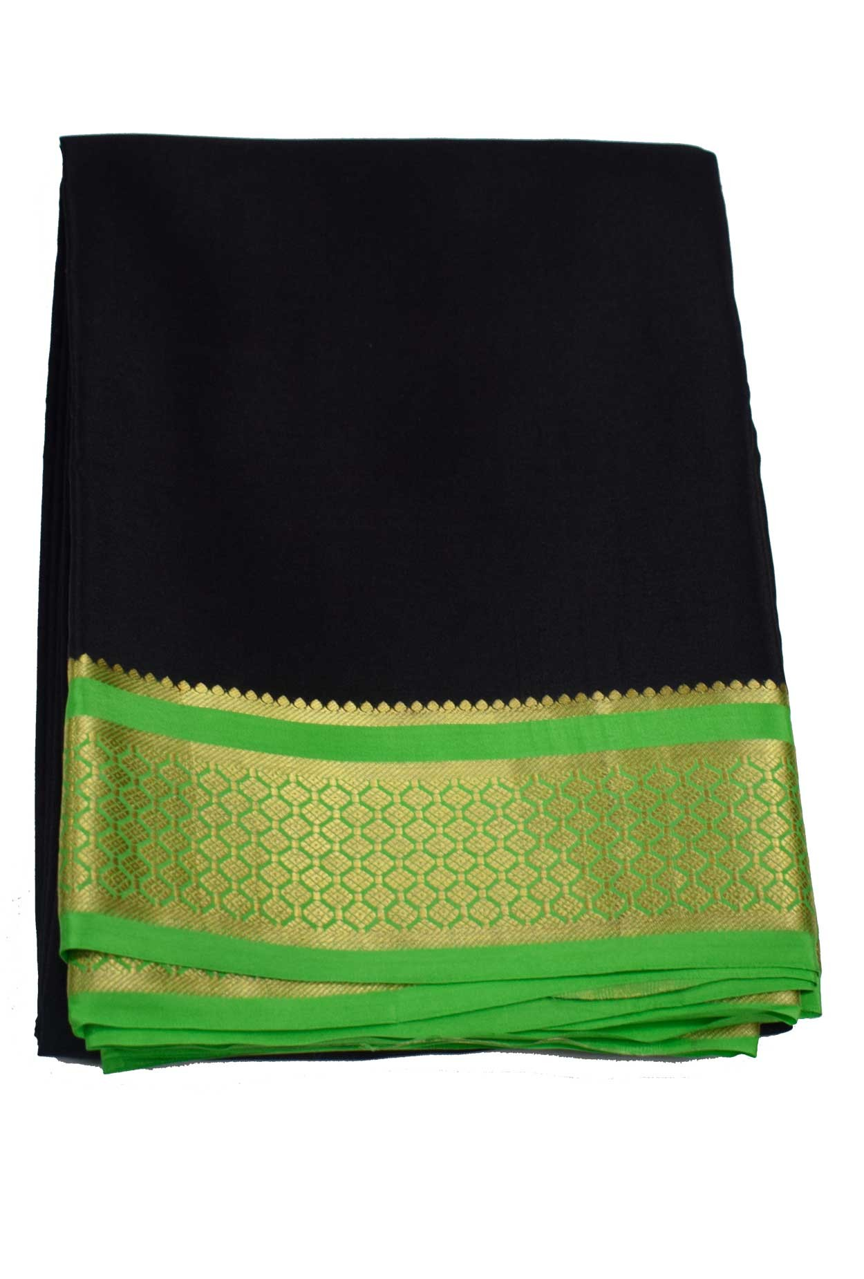 100% Pure Crape Mysore Traditional Silk Sarees SC-66-BLACK-GREEN