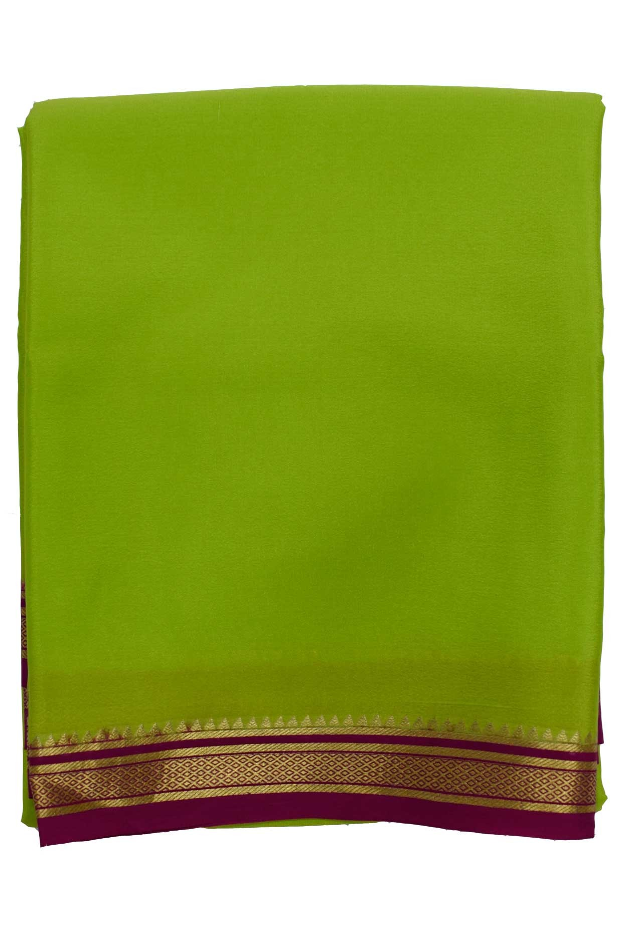 100% Pure Crape Mysore Traditional Silk Saree SC-38_olive_meron